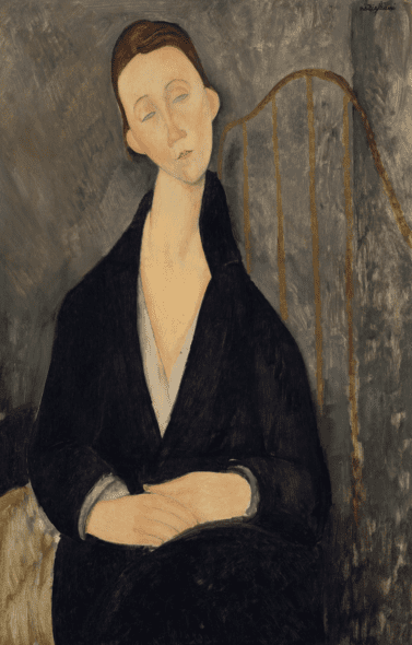 Amedeo Modigliani (1884-1920), Lunia Czechowska (à la robe noire), 1919. Oil on canvas. 36⅜ x 23⅝ in (92.4 x 60 cm). Estimate $12,000,000-18,000,000. Offered in the Impressionist and Modern Art Evening Sale on 13 May at Christie's in New York