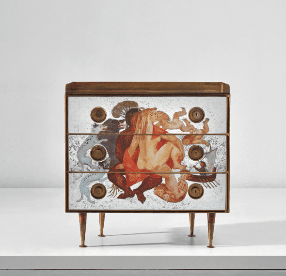 315 GIO PONTI AND EDINA ALTARA Follow Chest of drawers circa 1951 Mirrored verre églomisé, burr walnut-veneered wood, brass. 101.7 x 100.6 x 47 cm (40 x 39 5/8 x 18 1/2 in.) Executed by Giordano Chiesa, Milan, Italy. Estimate £45,000 - 65,000 SOLD FOR £337,500
