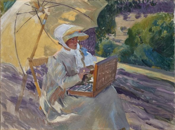 Joaquín Sorolla, María Painting at El Pardo, 1907 Oil on canvas, 80 × 106 cm Private Collection Photo: Joaquín Cortés