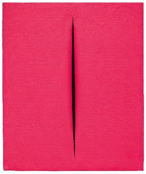 Thinking Italian Milan LUCIO FONTANA (1899-1968) Concetto spaziale, Attesa Waterpaint on canvas, 55x46 cm Executed in 1967 Estimate: €800,000–1,200,000