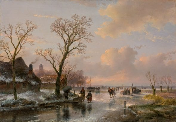 A DUTCH WINTER LANDSCAPE WITH FIGURES ON THE ICE ANDREAS SCHELFHOUT (1787 - The Hague - 1870) Oil on panel 38.5 x 55.2 cm (15.2 x 21.7 in.) Signed and dated lower left 'A. Schelfhout 1866' 1866