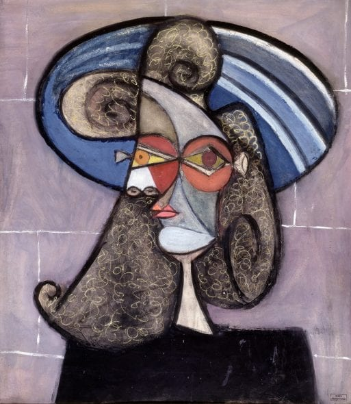 PORTRAIT DE PROFIL AU CHAPEAU BLEU DORA MAAR (1907 - Paris - 1997) Pastel and gouache on paper 80 x 69 cm (31.3 x 27.2 in.) Stamp on the lower right 'Vente Atelier Dora Maar' Circa 1939
