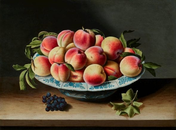 STILL LIFE OF PEACHES IN A PORCELAIN BOWL LOUYSE MOILLON (circa 1610 - Paris - 1696) Oil on panel 49 x 64 cm (19.3 x 25.2 in.)
