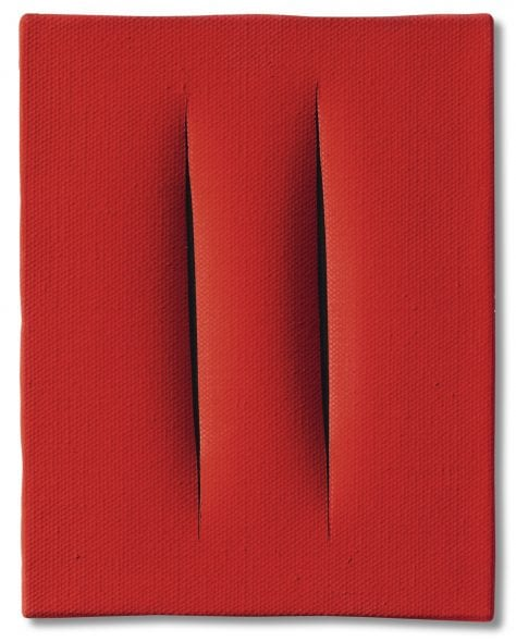 Lucio Fontana CONCETTO SPAZIALE [ATTESE] SIGNED, TITLED AND INSCRIBED 'QUI NON SI PUÒ SCRIVERE ATTESE' ON THE REVERSE, WATERPAINT ON CANVAS. EXECUTED IN 1964. Estimate 200,000 — 300,000 EUR