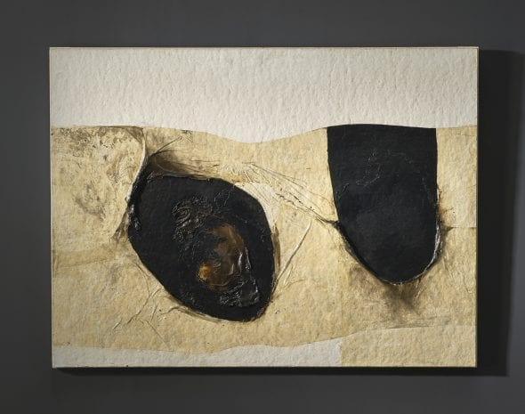 Alberto Burri BIANCO PLASTICA SIGNED AND DATED 65 ON THE REVERSE, PLASTIC, ACRYLIC, VINAVIL AND COMBUSTION ON CELLOTEX. Estimate 600,000 — 800,000 EUR