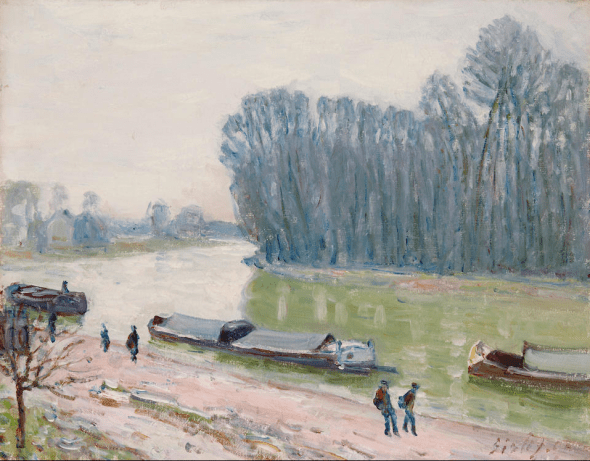 Lotto 6 ALFRED SISLEY (1839-1899) Péniches sur le Loing 13 x 16 in (33.5 x 41.5 cm) US$ 500,000 - 700,000 € 440,000 - 620,000