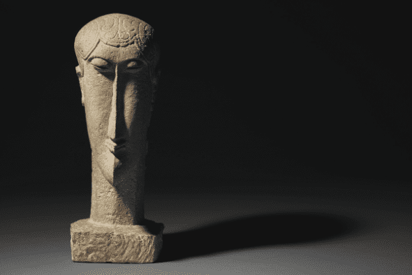 Property from a European Private Collection   Amedeo Modigliani,Tête, limestone, carved circa 1911-1912   $30,000,000-40,000,000