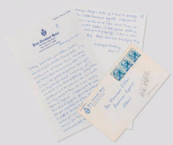"""Cohen's first major performance Autograph letter signed (""""Leonard"""") to Marianne Ihlen (""""Darling""""), New York, 23 February 1967. Estimate: $8,000-12,000"""