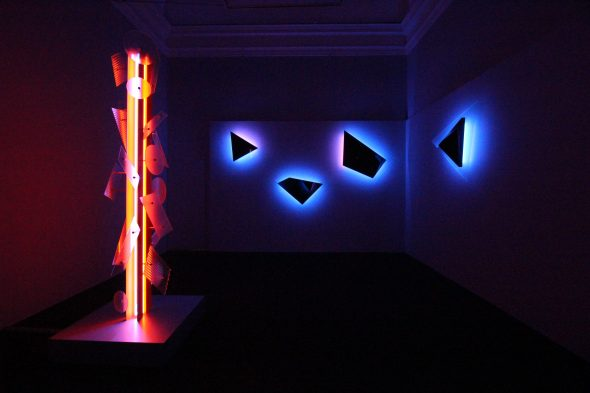 Exhibition view, Nanda Vigo, Palazzo Reale, Milano, 2019. Opere Neverended light e Galactica sky