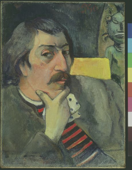 Paul Gauguin Portrait of the Artist with the Idol, about 1893 Oil on canvas 43.8 × 32.7 cm Collection of the McNay Art Museum, Bequest of Marion Koogler McNay 1950.46 © McNay Art Museum, San Antonio