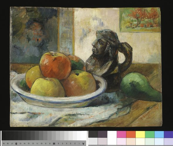 Paul Gauguin Still Life with Apples, a Pear, and a Ceramic Portrait Jug, 1889 Oil on cradled paper 28.6 × 36.2 cm Harvard Art Museums/Fogg Museum Gift of Walter E. Sachs 1958.292 Photo: Imaging Department © President and Fellows of Harvard College