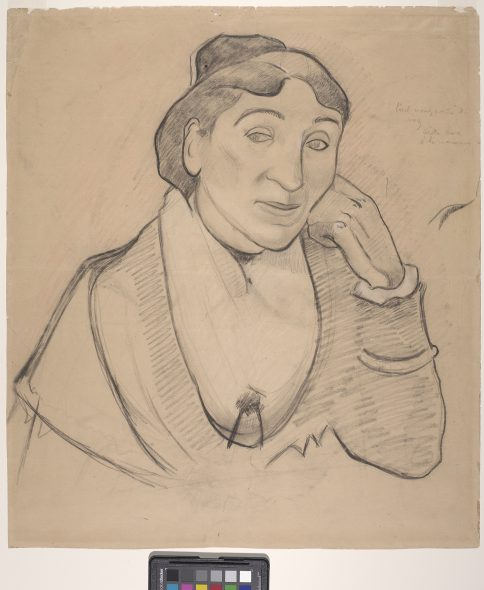 Paul Gauguin L'arlésienne, Mme Ginoux (The Woman from Arles, Madame Ginoux), 1888 Beige Chalk under charcoal with stumping, with salmon-colored pastel, heightened with white chalk on beige wove paper 56.1 × 49.2 cm Fine Arts Museums of San Francisco, California Memorial gift from Dr. T. Edward and Tullah Hanley, Bradford, Pennsylvania, 69.30.78 © Fine Arts Museums of San Francisco, California