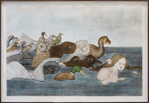 Kiki Smith, Pool of Tears 2, 2000, etching and aquatint, edition of 29, 503/4 × 741/2 in., 129 × 189.2 cm. Photo: Luke Walker.