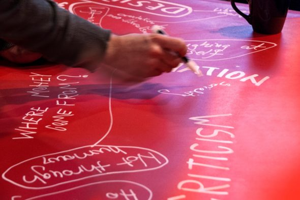 Nada Prlja, Subversion to Red, installation and live performance. Republic of North Macedonia Pavilion. Courtesy of Calvert 22 Foundation Ph