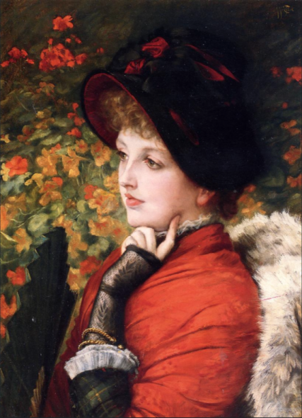 James Tissot. Portrait of Mrs. Kathleen Newton in a red dress and black bonnet, 1880