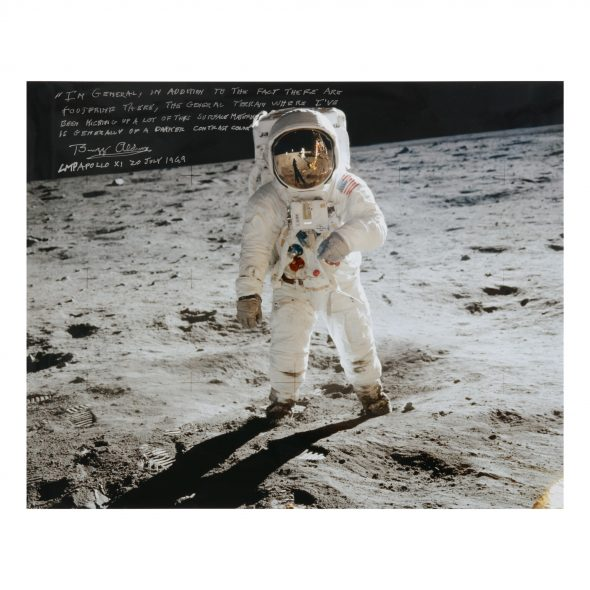 [APOLLO 11]. BUZZ ALDRIN AT TRANQUILITY BASE. LARGE COLOR PHOTOGRAPH, SIGNED AND INSCRIBED BY BUZZ ALDRIN Estimate: 6,000 - 9,000 USD