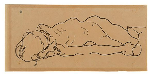 Egon Schiele's previously unknown drawing Reclining Nude Girl (around 1918) Courtesy of Galerie St. Etienne