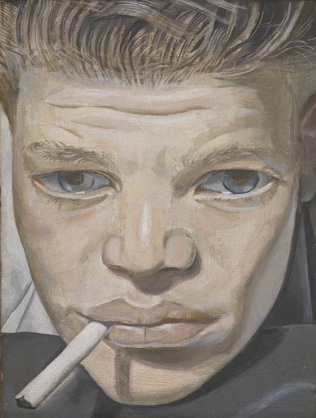 Lucian Freud, Boy Smoking , 1950 - 51, Oil paint on copper, 155 x 115 x 2 mm. Tate: Bequeathed by Simon Sainsbury 2006, accessioned 2008 © Lucian Freud Archive / Bridgeman Images. P hoto: © Tate , 2019