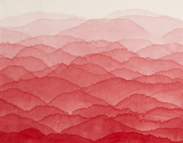 Minjung Kim, Red Mountain, 2018, Ink and watercolor on mulberry Hanji paper, 70 x 90 cm (18-088)