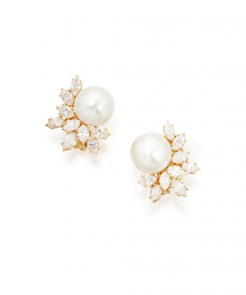 Pair of Cultured Pearl and Diamond Earclips, Harry Winston