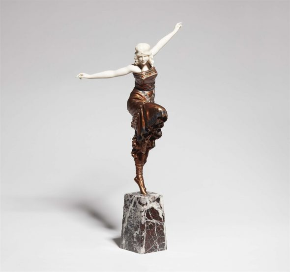 A chryselephantine figure of a dancer Metal figure with bronze and polychrome lacquer, carved ivory, red and white marble. Engraved P. Phillippe. Slightly mottled surface. H with base 38.8, W 21.7 cm. Paul Philippe, Paris, 1920s.