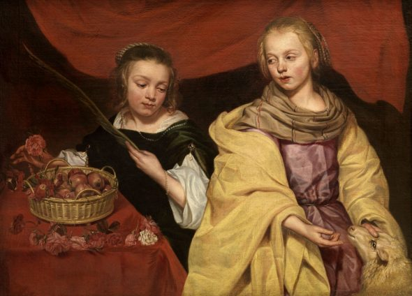 Michaelina Wautier 1617 – 1689 Ritratto di due fanciulle come Sant'Agnese e Santa Dorotea / Two Girls as Saints Agnes and Dorothy (1655 ca./c.) Olio su tela / Oil on canvas Royal Museum of Fine Arts Antwerp (KMSKA) © Royal Museum of Fine Arts Antwerp www.lukasweb.be – Art in Flanders, photo Hugo Maertens