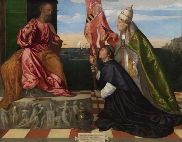 Tiziano Vecellio 1488–1576 Jacopo Pesaro presentato a San Pietro da Papa Alessandro VI / Jacopo Pesaro, Bishop of Paphos, being presented by Pope Alexander VI to Saint Peter (1511-1513 ca. / c.) Olio su tela / Oil on canvas , cm 147,8 x 188 Royal Museum of Fine Arts Antwerp (KMSKA) © Royal Museum of Fine Arts Antwerp www.lukasweb.be – Art in Flanders, photo Hugo Maertens