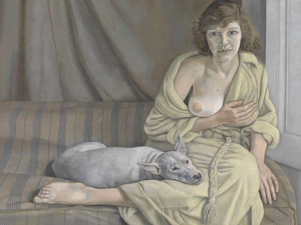 Lucian Freud, Girl with a White Dog , 1950 - 51, Oil paint on canvas, 762 x 1016 mm. Tate: Purchased 1952 © Tate