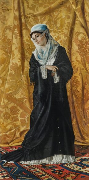 Osman Hamdi Bey (Istanbul 1842 - 1910) Dame turque de Constantinople, signed, dated Hamdy Bey 1881, oil on canvas, 120 x 60 cm, realized price € 1,770,300 Auction 19th Century Paintings, 23 October 2019