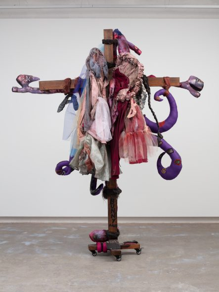 Bunny Angel, 2019, wheels, pine wood, wood stain, various weights, wool, stuffing, pine dowels, leather thread, fabric image transfer, hair dye, spray paint, PVC corsets, PVC fabric, felt, sofa samples, stuffing, polaroids, tulle, synthetic, hair, glue, copper wire, brides maids dresses, 245 x 173 x 54 cm, Photo: Plastiques, London, Courtesy of the artist and Emalin, London
