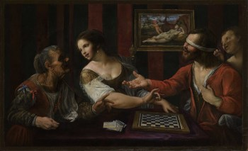 Blind Love A Man Playing Draughts wit a Courtesan di Angelo Caroselli