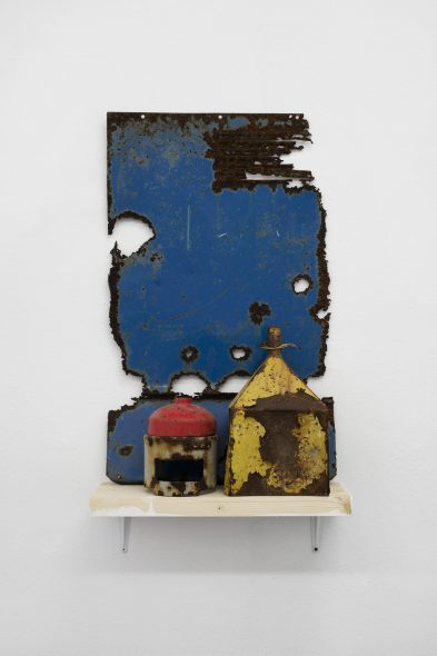 Olu Oguibe Composition with Blue, Red and Yellow, 2019 Steel
