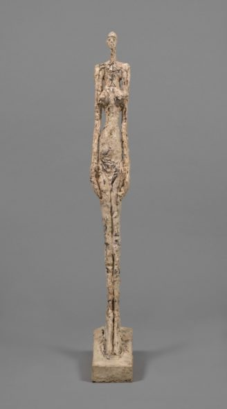 "Alberto Giacometti, ""Woman of Venice V"" (1956), painted plaster, 113.5 x 14.5 x 31.8 cm, collection Fondation Alberto et Annette Giacometti, Paris (© Alberto Giacometti Estate, ACS/DACS, 2017)"