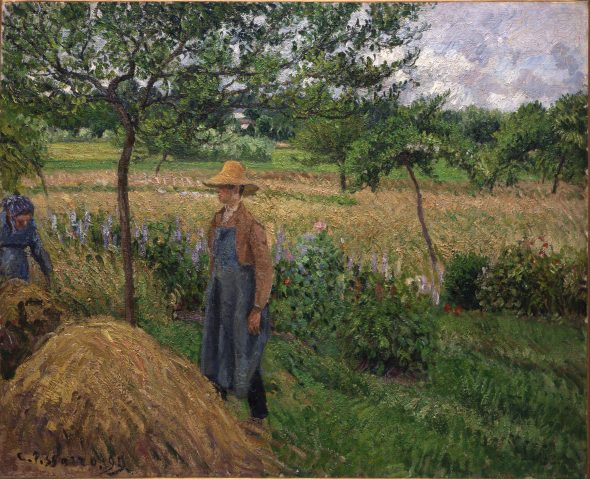 Camille Pissarro Gardener standing by a Haystack, overcast sky, Eragny, 1899 Olio su tela, 60x73 cm Isabelle and Scott Black Collection