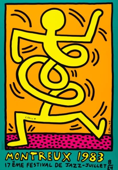 Keith Haring, Montreux Jazz Festival Yellow manifesto, 100x70cm