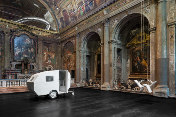 Inge Mahn, Snake, Swings, Caravan, 2019. Installation view at Converso, Milano. Photography by t - space studio. Courtesy of the artis