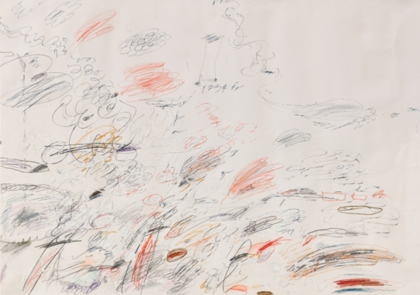 Cy Twombly UNTITLED PENCIL, WAX CRAYON, OIL BASED HOUSE PAINT, BALL-POINT PEN ON PAPER. EXECUTED IN 1964 THIS WORK WILL BE INCLUDED IN THE ADDENDUM TO THE CATALOGUE RAISONNÉ OF THE ARTIST EDITED BY NICOLA DEL ROSCIO. Estimate 1,200,000 — 1,800,000 E