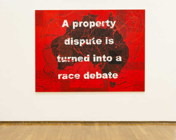 Richard Bell, A property dispute is turned into a race debate, 2019, Installation view at PAC Milano, 2019. Photo Claudia Capelli