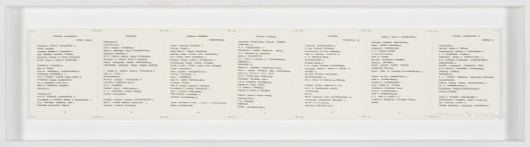 1)I.Blank, Trascrizioni, Dichtung Version VII, 1974, china su carta pergamenata/indianink on parchment like paper, 7 pagine/pages cm.13x9,5 cad/each (cm.13x66,5 totale/overall). Courtesy the artist and P420, Bologna.  photo credit C.Favero