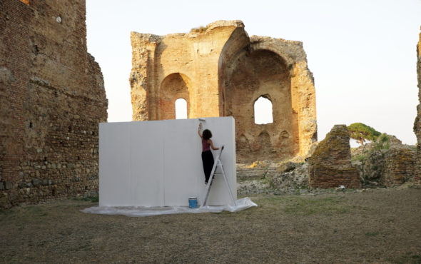 Penelope's White Wall, Penelope's White Wall, durational performance, view Parco Archeologico Scolacium, 2017. Courtesy of the artist