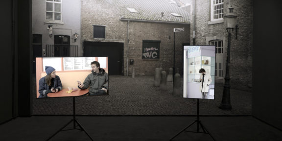 "The Pit Call (The Netherlands, 2019) Two Channel 4K Video Installation with backdrop - 1.77:1 - Color - Audio Stereo – 41'40"" INSTALLATION VIEW"
