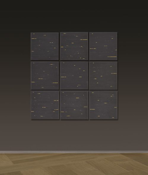 Gianfranco Zappettini, Il codice degli dei no 35, resin and acrylic on board, 9x 50 x 50 cm. Courtesy Mazzoleni, London-Torin